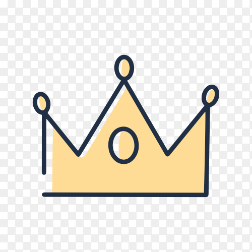 Hand drawn Sketch yellow crown on transparent background PNG