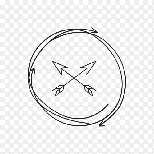 Hand drawn arrow icon . doodle arrow on transparent background PNG