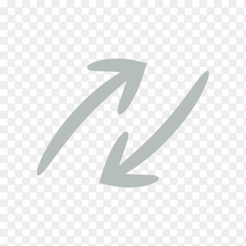 Hand drawn arrow icon template . doodle arrow symbol premium vector PNG