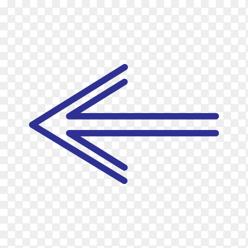 Hand drawn arrow mark icon in blue color on transparent background PNG