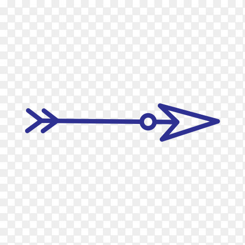 Hand drawn arrow mark icon on transparent background PNG