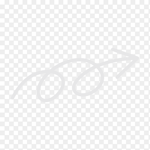 Hand drawn arrow with doodle style isolated on transparent PNG
