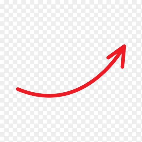 Hand drawn arrow with doodle style on transparent background PNG