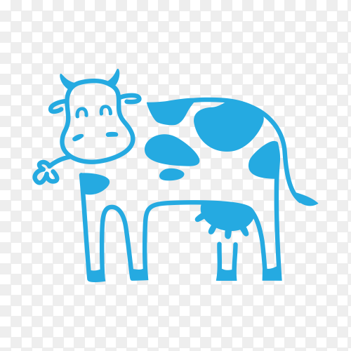Hand drawn cartoon cow illustration on transparent background PNG