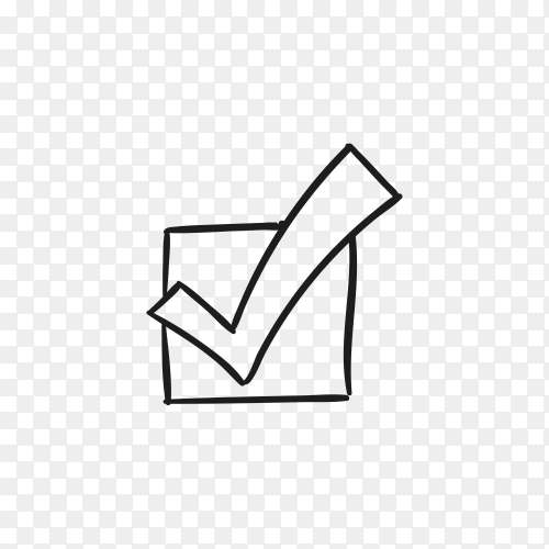 Hand drawn check mark or tick sign in box on transparent background PNG