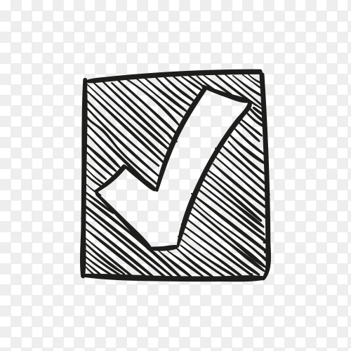Hand drawn check mark or tick sign in box premium vector PNG