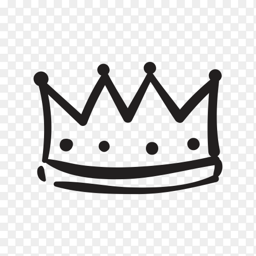 Hand drawn crown illustration on transparent background PNG