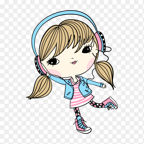 Hand drawn cute girl illustration with t shirt design Clipart PNG