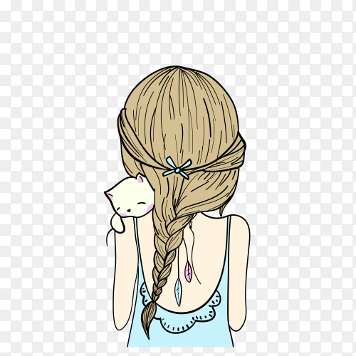 Hand drawn cute girl illustration with t shirt design isolated premium vector PNG