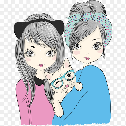 Hand drawn cute girl illustration with t shirt design on transparent PNG