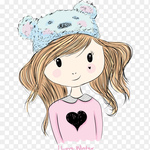 Hand drawn cute girl illustration with t shirt design premium vector PNG