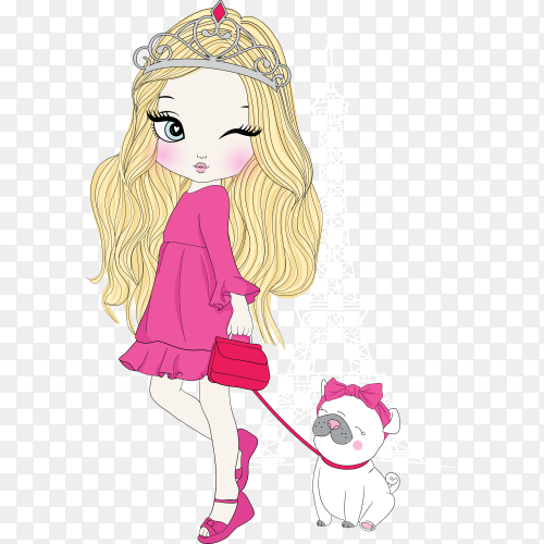 Hand drawn cute girl with dog on transparent background PNG