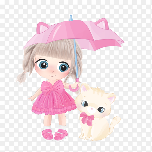 Hand drawn cute girl with kitty on transparent background PNG