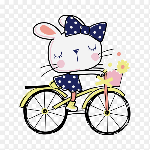 Hand drawn cute kitty with Bicycle on transparent background PNG