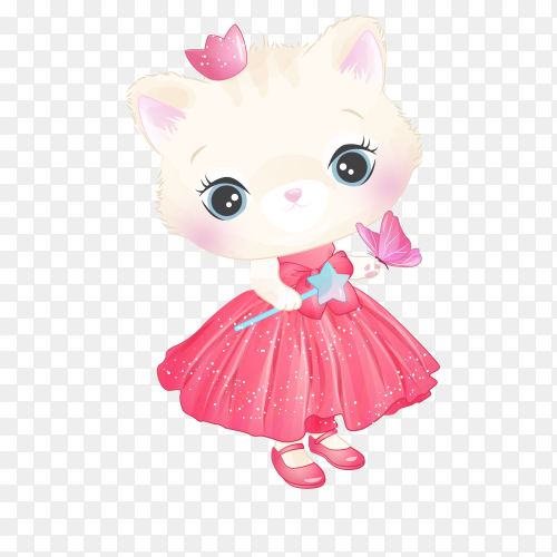 Hand drawn cute princess kitty character on transparent background PNG