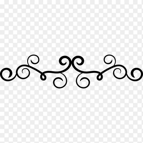 Hand drawn floral ornament on transparent PNG