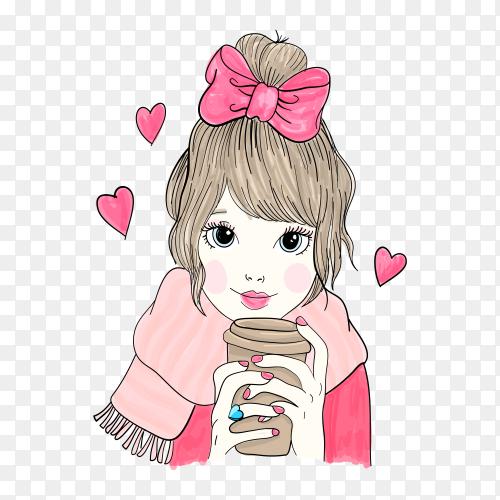Hand drawn little girl illustration on transparent background PNG