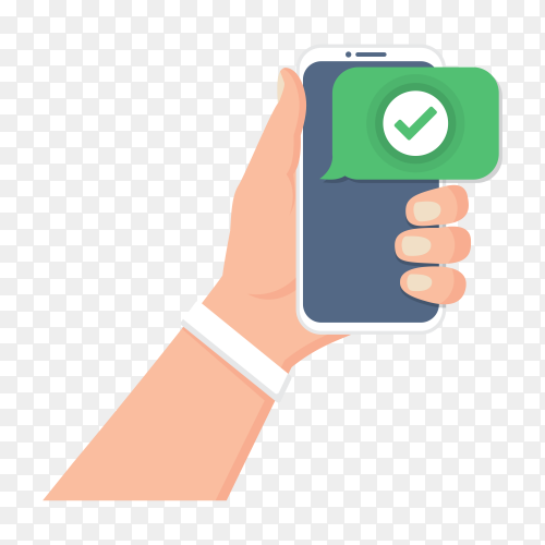 Hand holding smartphone with check icon in a flat design on transparent background PNG