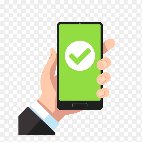 Handheld smartphone with green check mark on transparent background PNG