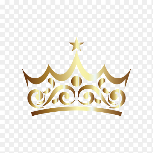 Illustration of Gold Ornament In Crown Shaped on transparent background PNG