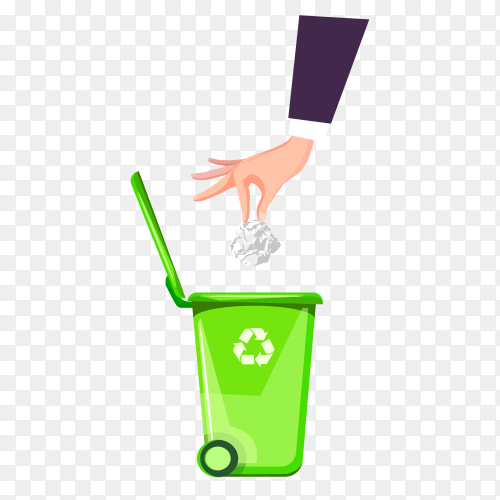 Illustration of How to throw garbage right on transparent background PNG