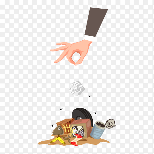 Illustration of How to throw garbage wrong on transparent background PNG