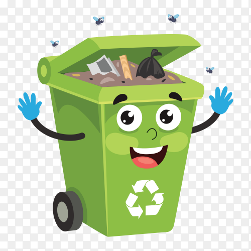 Illustration of Recycle bin with trash on transparent background PNG