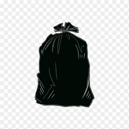 Illustration of black plastic trash on transparent background PNG