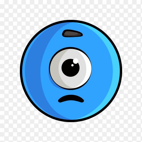 Illustration of blue emoji face on transparent background PNG