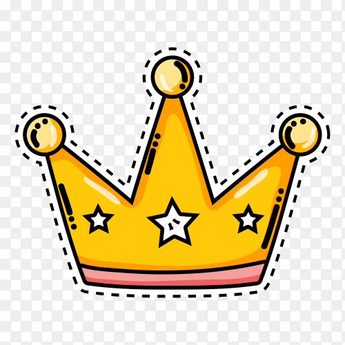 Illustration of cartoon crown on transparent background PNG