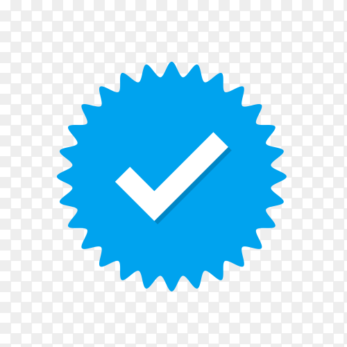 Illustration of check mark icon in blue color on transparent background PNG