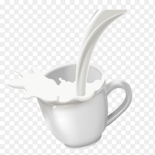 Illustration of cup of milk on transparent background PNG