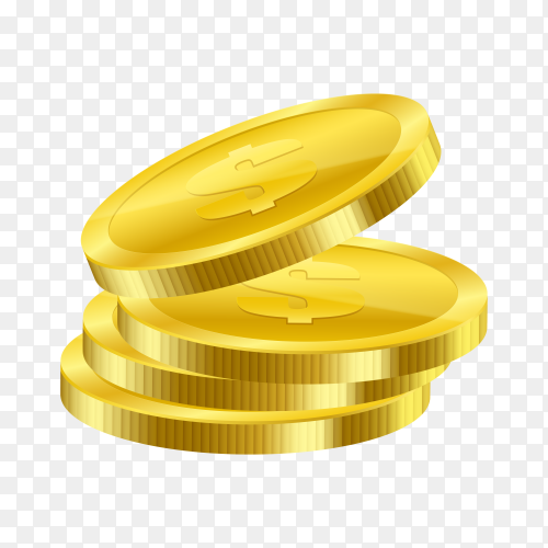 Illustration of gold coins on transparent background PNG