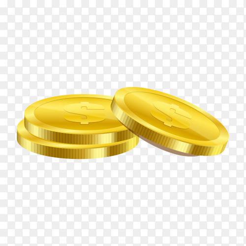 Illustration of golden coins premium vector PNG