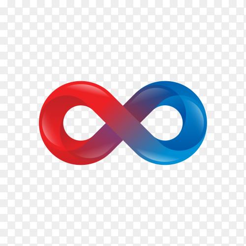 Infinity color gradient symbol on transparent background PNG