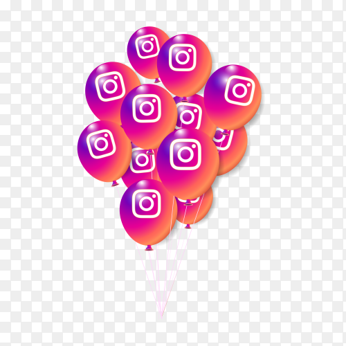 Instagram 3d balloons collection for banner on transparent background PNG