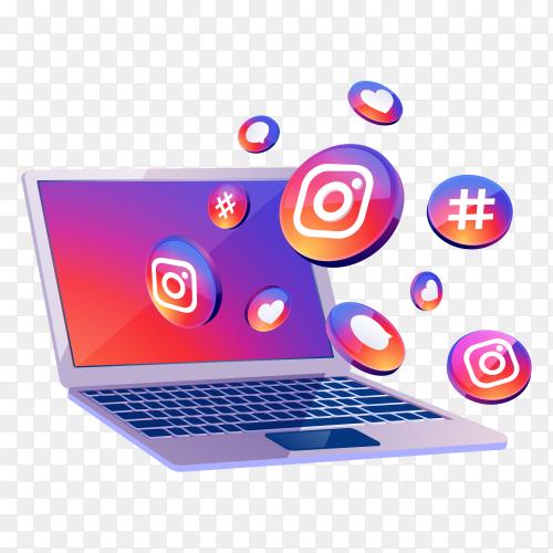 Instagram 3d social media icon with laptop desktop on transparent background PNG