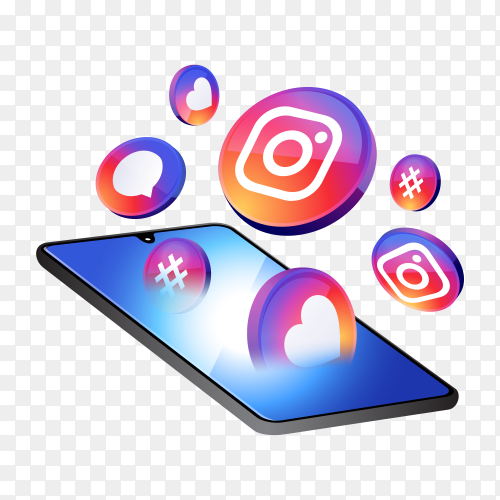 Instagram 3d social media icons with smartphone on transparent background PNG
