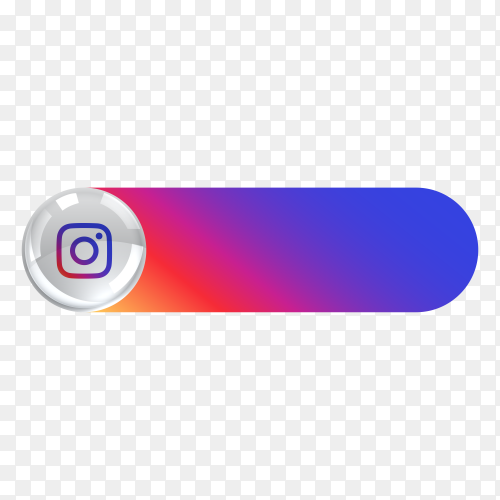 Instagram icon in banner lower third on transparent background PNG