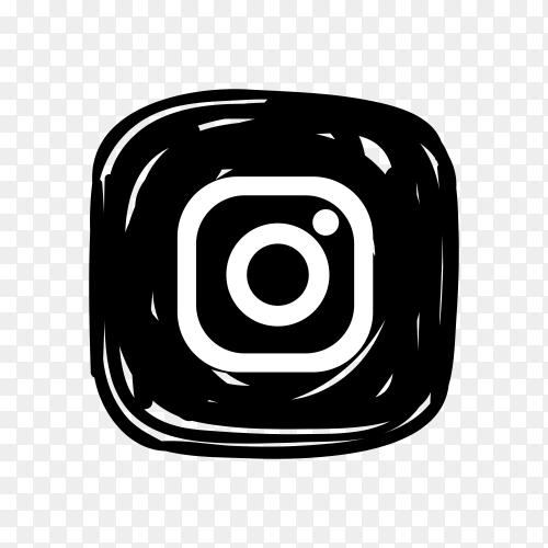 Instagram icon in black color on transparent background PNG
