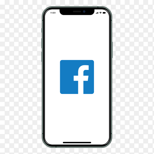I phone with Facebook logo on screen on transparent background PNG
