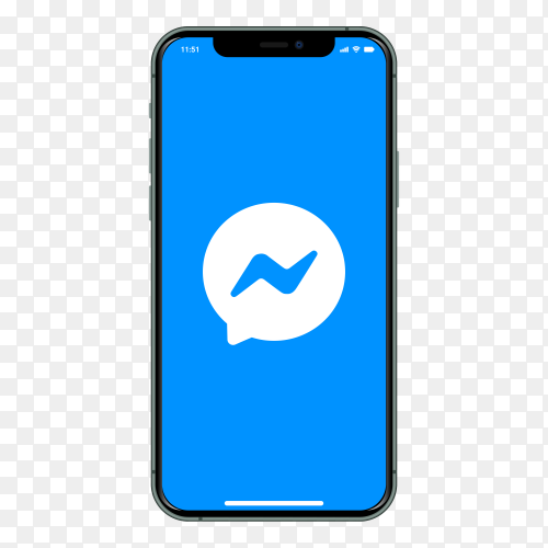 Iphone with Messenger logo on screen on transparent background PNG
