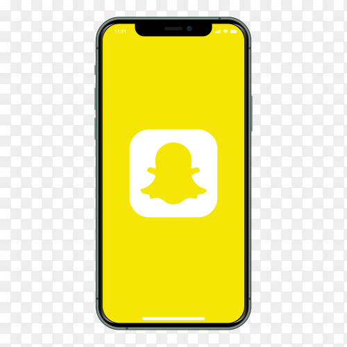 Iphone with Snapchat logo on screen on transparent background PNG