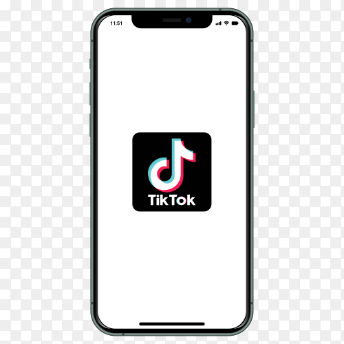 Iphone with TikTok logo on screen on transparent background PNG