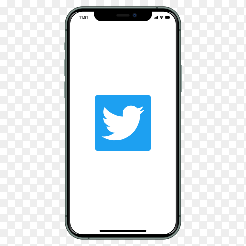 Iphone with Twitter logo on screen on transparent background PNG