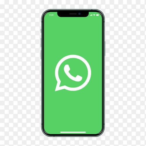 Iphone with Whatsapp logo on screen on transparent background PNG