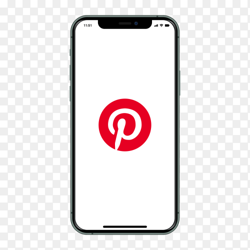 Iphone with pinterest logo on screen on transparent background PNG