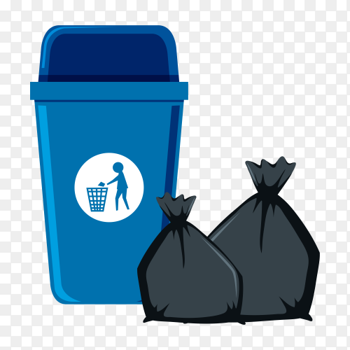 Isolated trash bin and trash bags on transparent background PNG