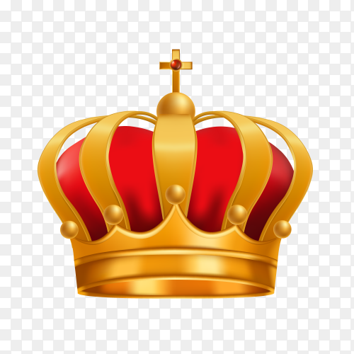 King or queen golden crown on transparent background PNG
