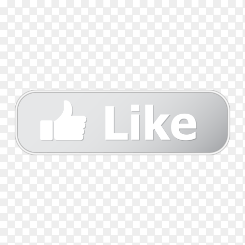 Like button with metal frame and shadow on transparent background PNG